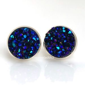 3 for $15🎀chunky blue purple faux druzy studs